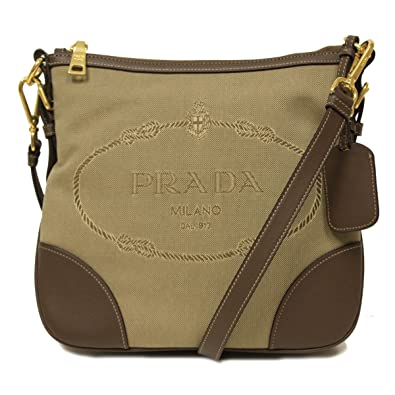 Amazon.com: Prada Brown Leather and Canvas Corda Bruciato ...