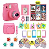 Fujifilm Instax Mini 9 Instant Camera with Accessories | Bundle of Soft Leather Case + Mini Photo Album + 6 Christmas Magnet Frames + 4 Colored Lenses + Selfie Lens + 10 Photo Frames + Stickers + More (Color: Flamingo Pink)