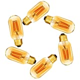 Dimmable 6W Tubular LED Bulb,T45 Edison Style LED Filament Bulbs,E26 Amber Glass 420LM, 60 Watt Bulb Equivalent, Soft Warm 2200K,6 Pack(2 Year Warranty) (Color: Amber)