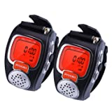 VECTORCOM Portable Digital Wrist Watch Walkie Talkie Two-Way Radio Outdoor Sport Hiking.462MHZ.1pair. (Black) (Color: Black)