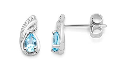 Miore women's 9ct White Gold Blue Topaz and Diamond Stud Earrings MG9170E