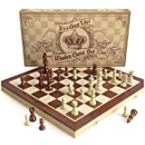 Wooden Chess Set: Universal Standard Wooden Chess Board Game Set - Handcrafted Wood Game Pieces, Pawns - With 15-inch Board and with Magnet Closure - Perfect Beginner Chess Set for Kids