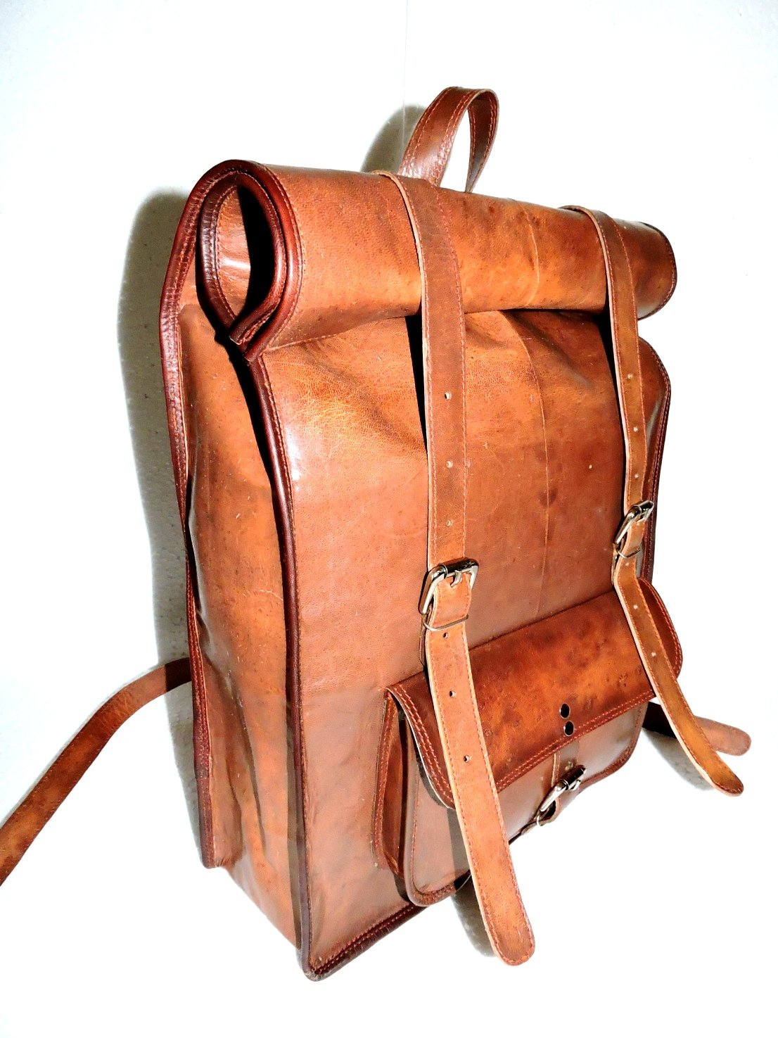 distressed leather backpack - front side