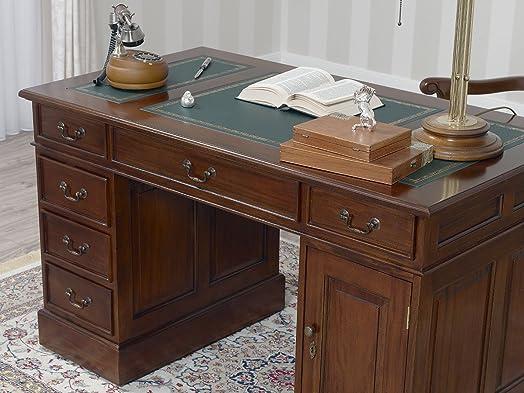 Scrivania scrittoio Victorian ministeriale presidenziale bifacciale cm 130 legno noce ecopelle verde Inglese