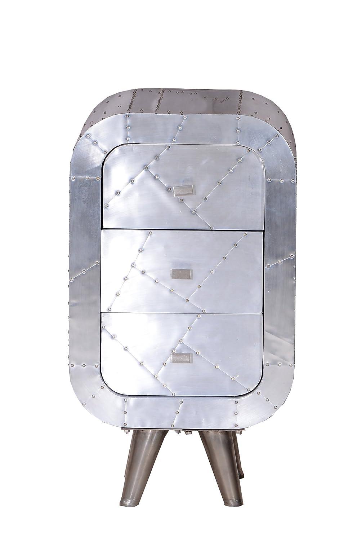 """SIT-Möbel 2011-21 Kommode """"Downtown"""", 45 x 40 x 80 cm, mit Alu beschlagen, silber"""