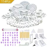 LIKETURE Fondant Tools Kit 114pcs Fondant Cake Decorating Supplies for Sugarcraft Icing Cookies Fondant Molds with Letter Cutters Plunger Smoother Rolling Pin Leaf Flower Modelling for Beginner DIY