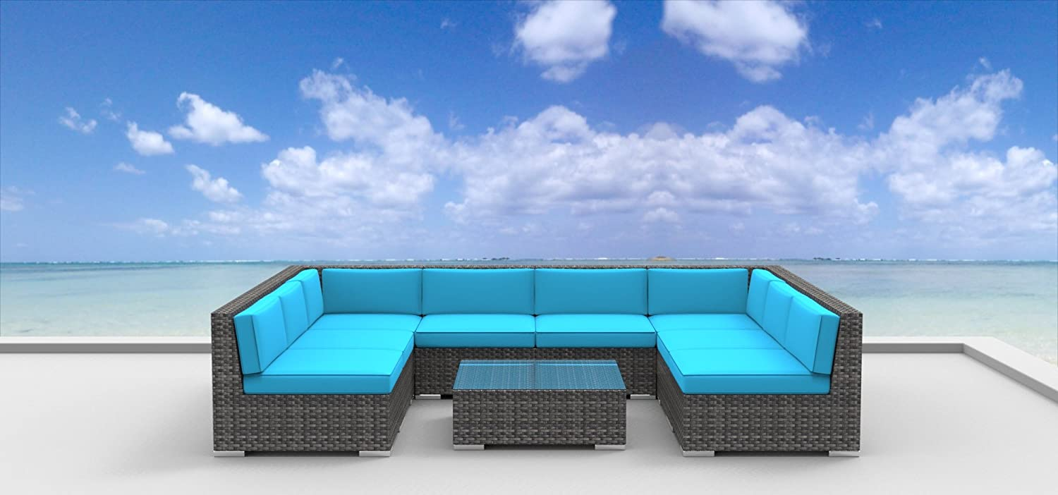 www.urbanfurnishing.net Urban Furnishing - Tahiti 9pc Modern Outdoor Backyard Wicker Rattan Patio Furniture Sofa Sectional Couch Set - Sea Blue at Sears.com