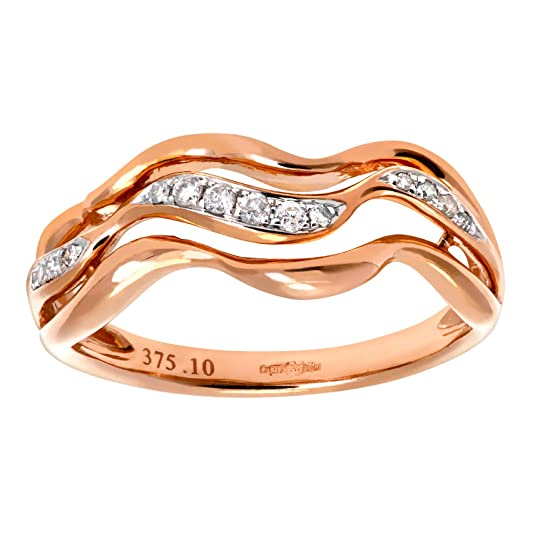 Naava 9ct Rose and White Gold 0.10ct Diamond Triple Wave Half Eternity Ring
