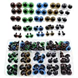 100pcs 10/12/14/16/18mm 5 Sizes in a Box Assorted Colors Plastic Safety Eyes for Teddy Bear Doll Animal Puppet Craft (Color: Multicolor)