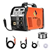 HITBOX MIG Welder 200Amp Inverter MIG ARC Lift TIG Gas Gasless 4 in 1 Multifunction MIG Welding Mahcine 220V Flux Cored Wire Solid Core Wire Welding Equipment (Tamaño: MIG200)