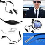 Maximalpower FBI Headset earpiece Radio Surveillance kit with 2 pin plug and 3.5mm plug for Kenwood radio and phones with kevlar reinforced cable (Color: Black, Tamaño: 54
