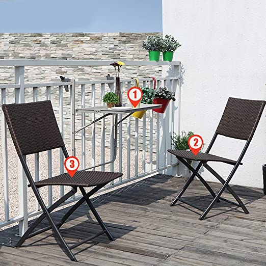 Gartenmöbel-Sets Einfache Mode Klappstuhl / Balkon Outdoor Tische und Stuhle Kombination / Freizeit Rattan Stuhl Drei Sets Tische Stuhle Möbel Sets