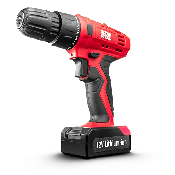 ULTRA STEEL 12V 1.3Ah Lithium-Ion 3/8 Cordless Drill Driver, 18 Position, LED Light, Keyless Chuck, 1-Year Warranty, Battery w/Charger Included (AQ