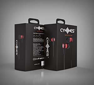 Cynnes In-Ear Wired Hi-Fidelity Earbuds With Free Tangle Flat Wire Noise Isolating Stereo Earphones with Microphone for All iPhones Samsung Mobiles Ta