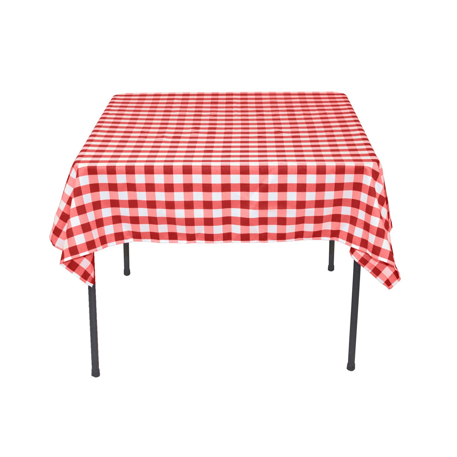 LinenTablecloth 54-Inch Square Polyester Tablecloth Red ...