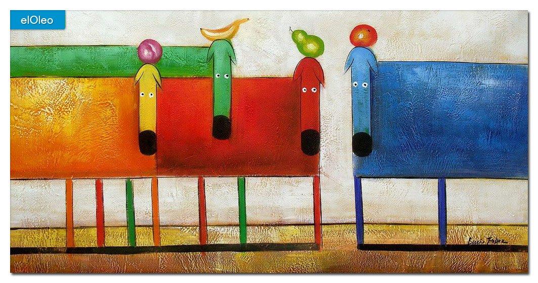 elOleo Pop Art – Das lustige bunte Hundequartett 60×120 Gemälde auf Leinwand handgemalt 83405A günstig kaufen