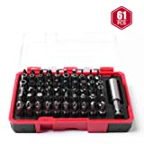 Protorq Security Bit Set, 61-Piece, High Grade S2 Steel, with one stainless steel bit holder, for home electronics, vehicles, elevator, military, aerospace applications (Tamaño: 61pc security bit set)