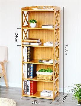 Haushaltsgegenstände Bambus Regale Wohnzimmer / Schlafzimmer / Kuche Lagerung Rack Einfache Bucherregal 5 Tiers -CRS-ZBBZ ( größe : 69cm )