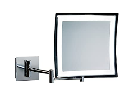 Walther Wall Mounted Cosmetic Makeup 5x LED Light Magnifying Mirror. Chrome