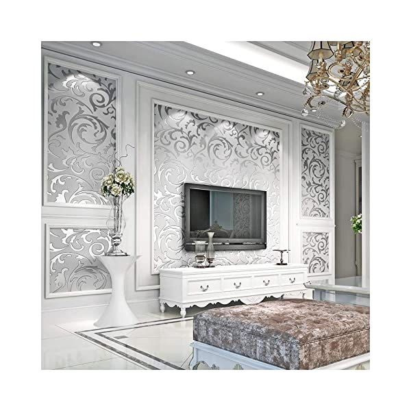 3d Damsk Wallpaper Modern Non Woven Sliver Flower Pattern
