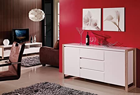 Sideboard Kommode Weiß Matt aus Holz mit Eiche Umrandung - Nordisch & Modern
