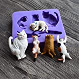 Cute Cats Silicone Mold, Runloo Cats Cake decoration tool, chocolate mold, fondant mold Candy silicone mold (Color: Purple)
