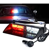 Xprite White & Red 16 LED High Intensity LED Law Enforcement Emergency Hazard Warning Strobe Lights For Interior Roof/Dash / Windshield With Suction Cups (Color: White & Red)