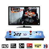 HAAMIIQII [2200 HD Retro Games] Pandora Treasure 3D Box Arcade Game Console 1920x1080 Full HD 2 Players Arcade Machine Support TF Card to Add More Games for PC / Laptop / TV / PS3 (Blue VS) (Color: 2200-blue Vs)