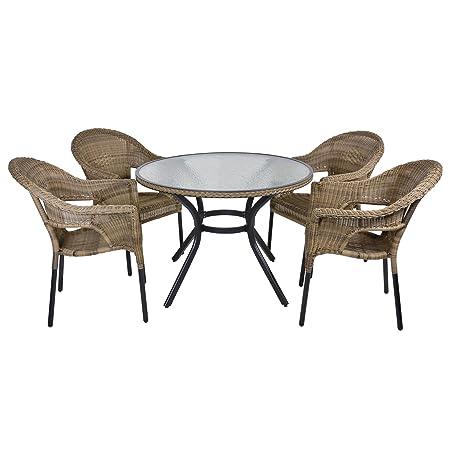 Havana Rattan Wicker Dining 4-Seat Garden Patio Furniture Table & Chairs Set