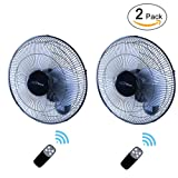 iPower HIFANXWALLDIGITX2 2-Pack Heavy Duty Quiet 16-Inch Digital Wall Mount Oscillating Fan with Remote by Simple Deluxe