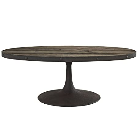 LexMod Drive Wood Top Coffee Table, Brown