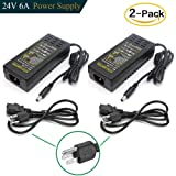 DC 24V 6A Power Supply Adapter, Superpower AC 100-240V to DC 24V Transformers, Wall Plug Switch 5.5mm x 2.1mm DC Plug Power Supply for 24V LED Strip Lights (Pack of 2) (Color: Black, Tamaño: 24V/6A-2Pack)
