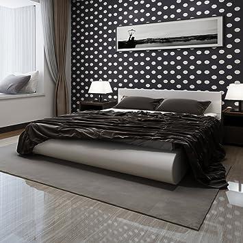 Anself Kunstlederbett Doppelbett Polsterbett Bett mit Matratze 180 x 200 cm Weiß
