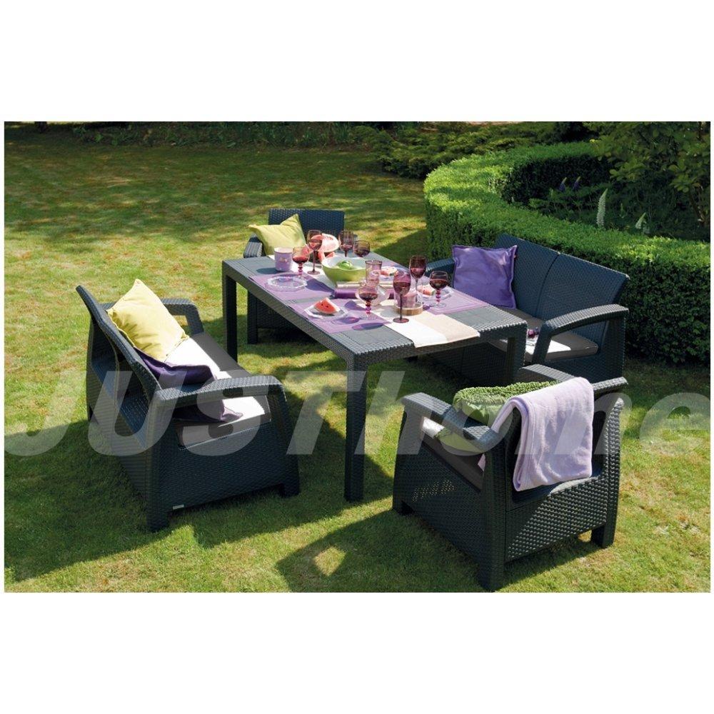 JUSThome Fiesta Gartenmöbel Sitzgruppe Gartengarnitur Set 2x Sessel + 2x Sofa + Tisch in Rattan-Optik Anthrazit Grau