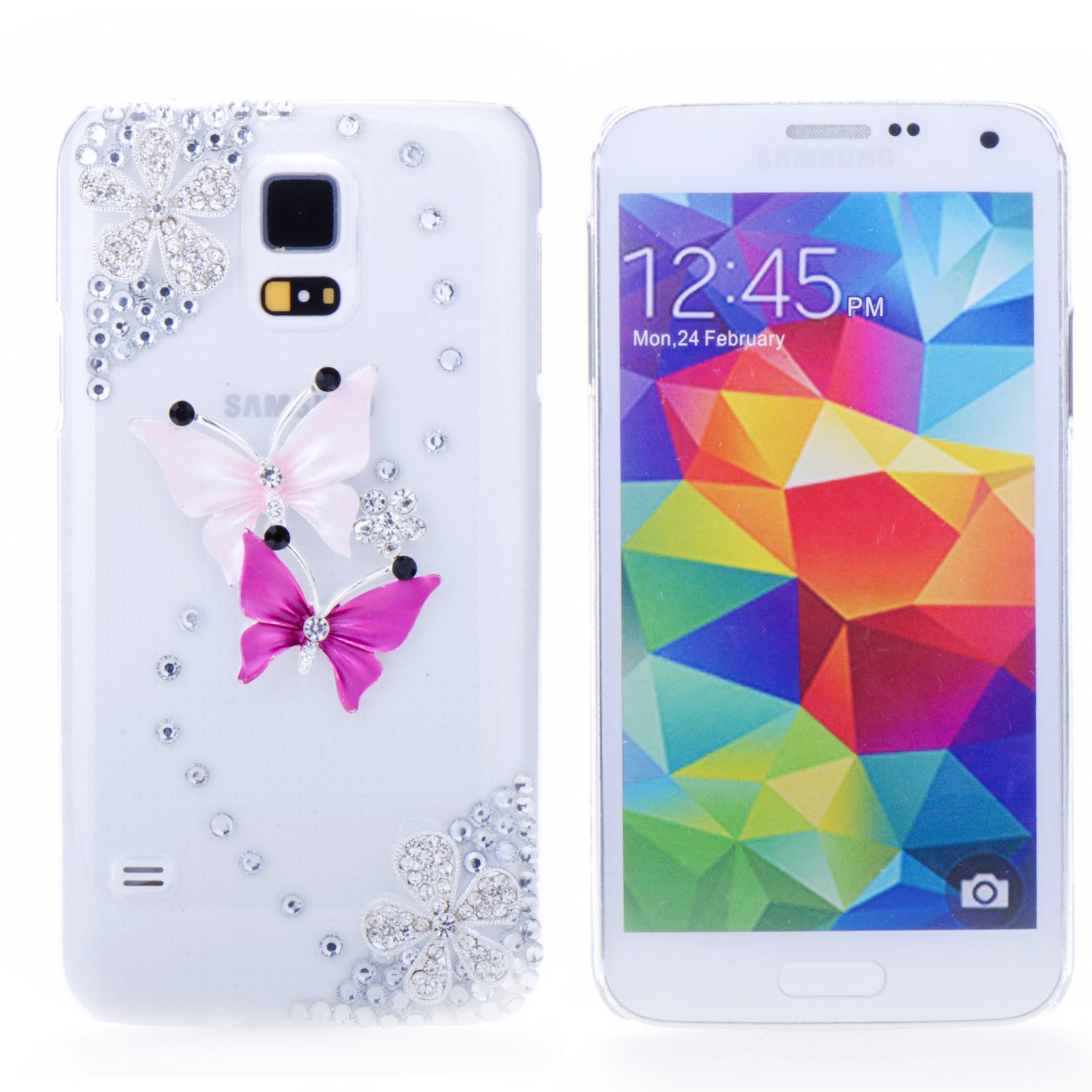 Handmade Bling 3D Double Butterfly with Silver Rhinestone Flower Hard Case Cover for Samsung Galaxy S5 i9600 Transparent