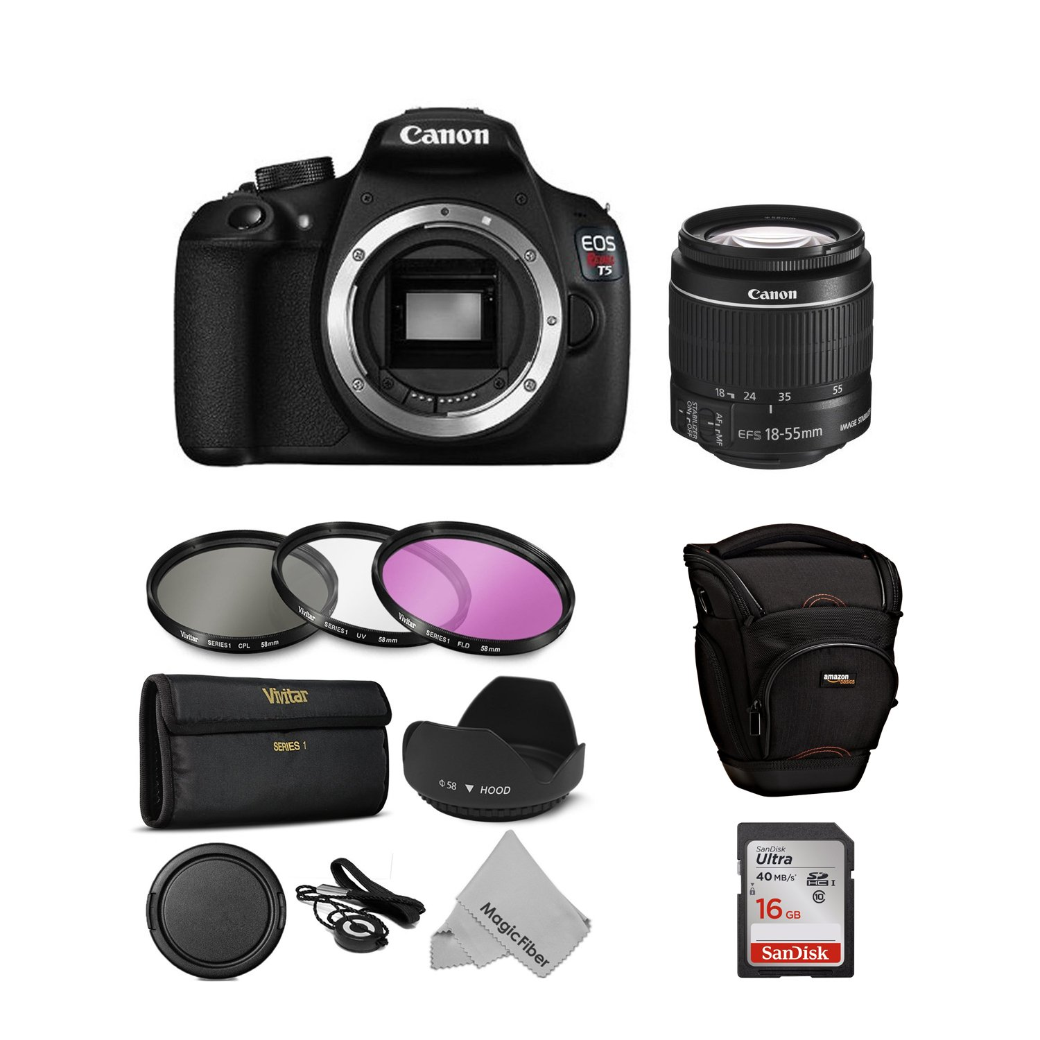 Canon EOS Rebel T5 Digital SLR Camera with 18-55mm Lens + 10 Piece Deluxe Accessory Kit Bundle