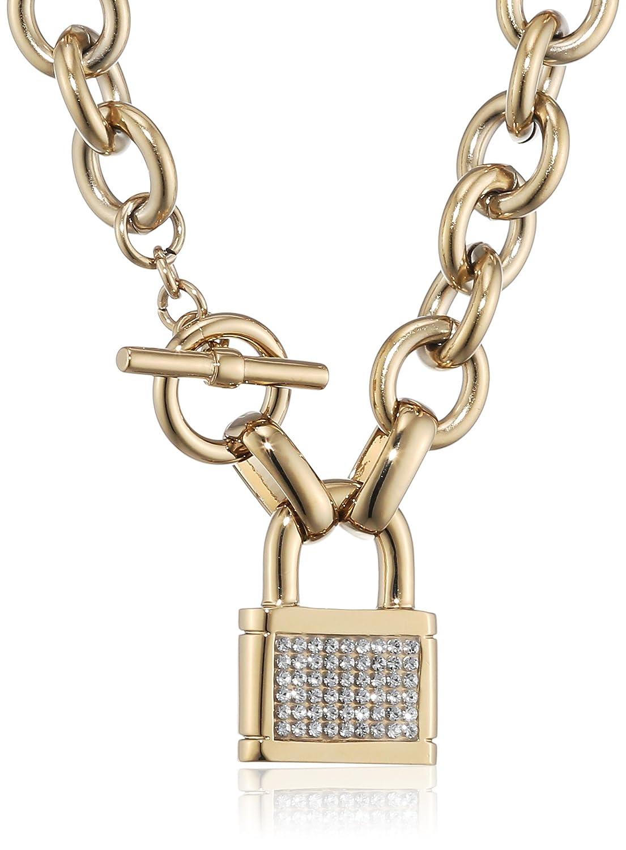 Dyrberg/Kern Damen-Kette mit Anhänger 15/02 Cori Sg Crystal Messing teilvergoldet 45 cm - 337964