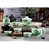 XDOBO High End Celadon Tea Set Hand-painted Kung Fu Tea Set Chinese Traditional Celadon Kiln Ceramics Teapot Vintage China Style Porcelain Handmade Kung Fu Tea Set – Set of 8 (Landscape) (Color: Landscape)
