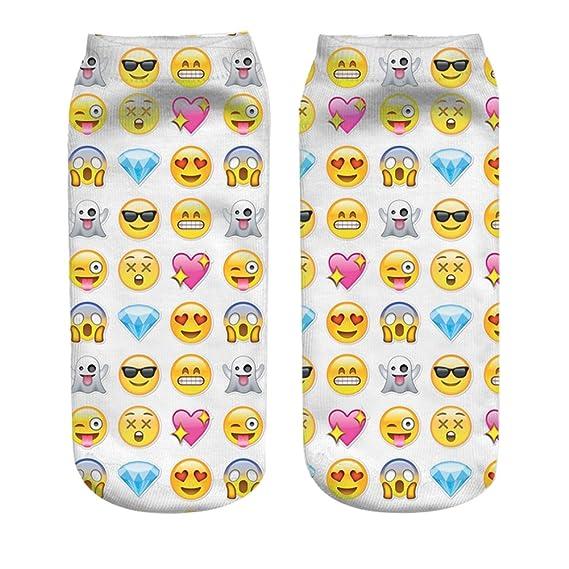 Mani Girls Teens 3d Printed Socks Emoji Heart Pattern Cut Ankle Socks 2 Pair/set