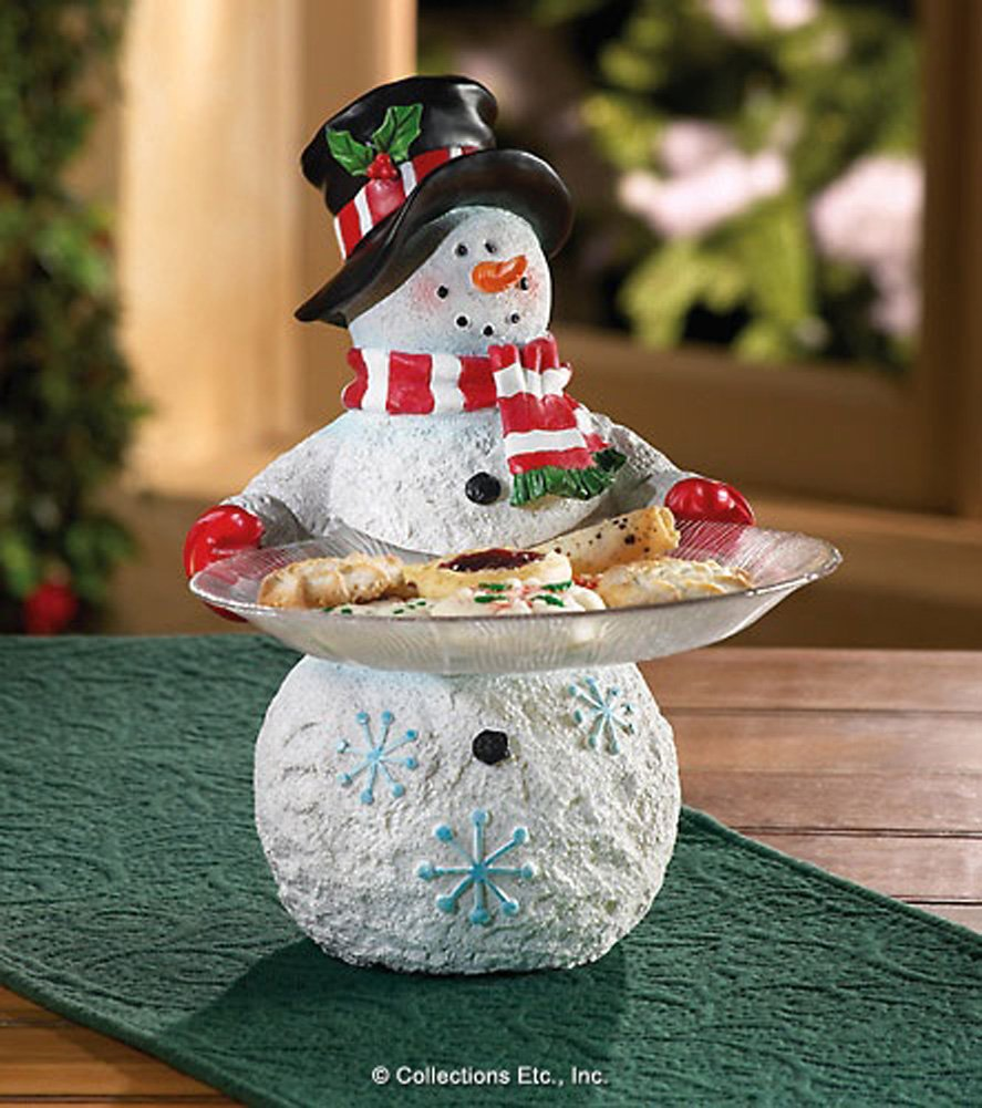 Snowman Standing Serving Plates Christmas Wikii