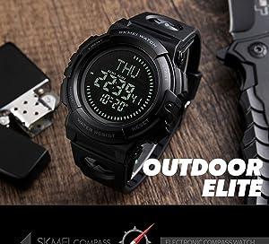 Men's Military Sports Digital Watch With Survival Compass 50M Waterproof Countdown 3 Alarm Stopwatch (Black) (Color: Black, Tamaño: Men's standard)