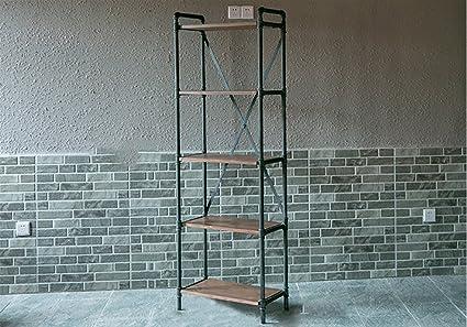 Book Jia librerie Scaffali da pavimento Librerie di legno Scaffali di vento industriali Retro Tetti di ferro Scaffali Scaffali Scaffali Ripiani