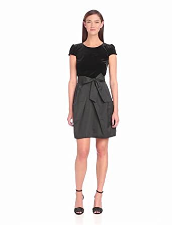 Ivy & Blu Women's Cap Sleeve Velvet Bodice with Tafetta Skirt Self Tie Dress, Black, 2