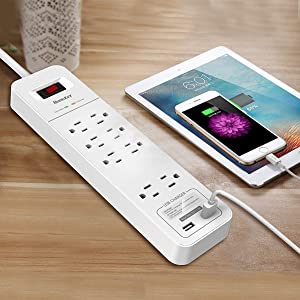 Huntkey 8 Outlets Surge Protector Power Strip with 2 USB Ports (5V 2.4A with Smart IC Technology), 6-Foot Heavy Duty Extension Cord, SMC807