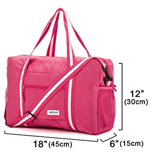 Rose Navy Floral Travel Lightweight Waterproof Foldable Storage Carry Luggage Duffle Tote Bag