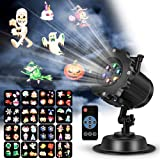 VIVREAL LED Projector Light for Christmas Party Garden Halloween Wedding Decoration, Waterproof Holiday Spotlight Landscape Lamp for Indoor Outdoor Use Remote Control & 16 Slides (Color: Black, Tamaño: Small)