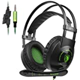 GW Sades SA801 Wired Over Ear Gaming Headset for PS4, PC,New Xbox One S, Noise Isolating Headphones with In-line Mic, Bass Stereo Surround, Soft Breathing Earmuffs for Laptop Mac Smart Phones(Green) (Color: SA801)