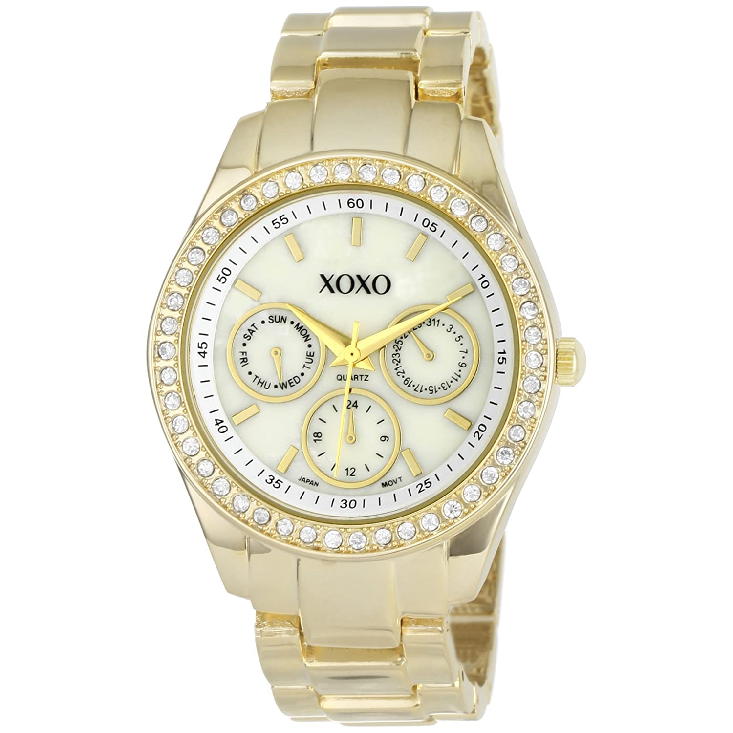 Women 39 s watches xoxo women 39 s xo5302a rhinestone accent gold tone bracelet watch was sold for for Watches xoxo