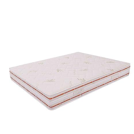 MiaSuite Ailime Top Materasso Matrimoniale, Memory Foam, Ortopedico in Aloe Vera, 170x195x25 cm, Bianco