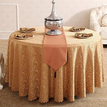 Qiangzi Manteles Hotel Ronda Mesa de comedor Restaurante occidental Banquete Mantel Brown Fibra Química Tela Estilo Europeo Tamaño Opcional Para el hotel y la boda ( Tamaño : Round-420cm )